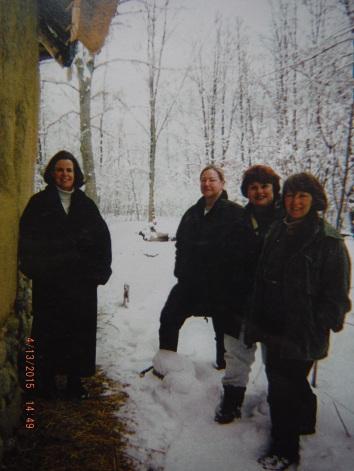 Original Strawbale Studio Building Team ~  (l to r) Gregie Mathews, Carolyn Koch, Fran Lee (original owner) and Deanne Bednar.  1998