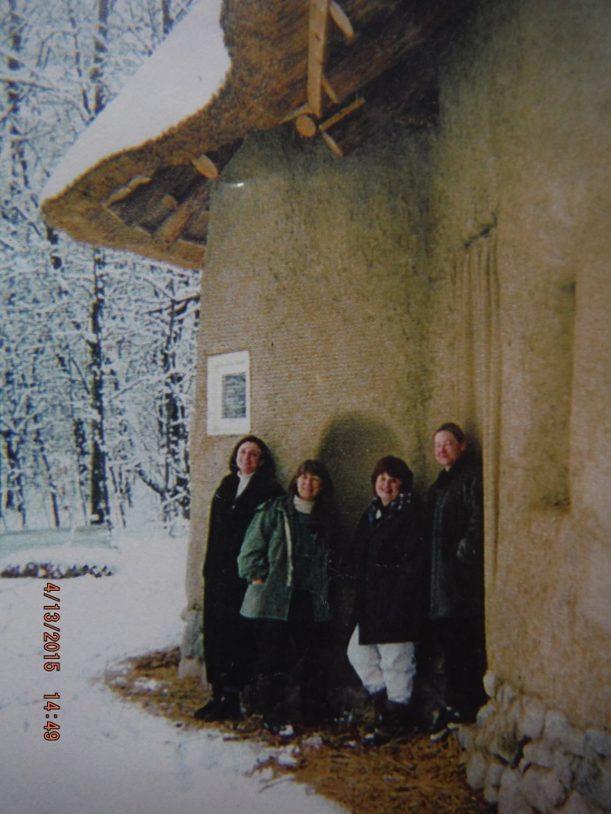 Original Strawbale Studio Building Team ~  (l to r) Gregie Mathews, Deanne Bednar, Fran Lee (original owner) & Carolyn Koch.  1998