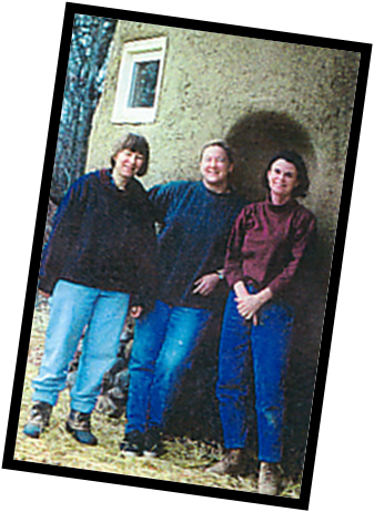 Original Strawbale Studio Team - Deanne Bednar, Carolyn Koch, Gregie Mathews plus Fran Lee (see reed photo)