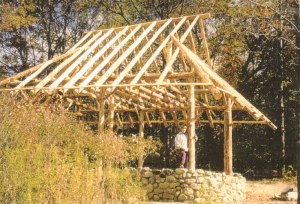 A photo of Strawbale Studio's post-and-beam frame.