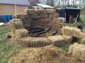 compost furnace, starting with hay bales