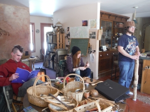 Justin, Alli & Blake –exploring Thatching books, whittling & Hickory Nut Milk