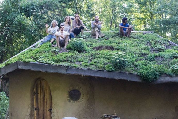 Interns on Hobbit Sauna Living Roof 2016