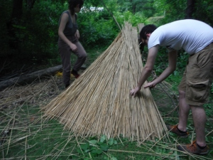 Thatching the stick frame.