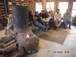 Rocket Stove in the Red Shed