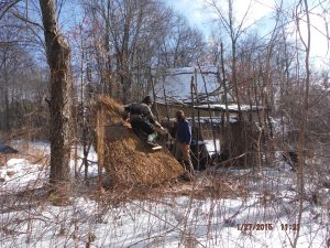 Thatching the Woodshelter