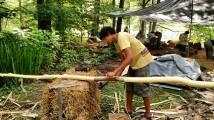 Shaving logs Natural Cottage Project 2015, Burton, Ohio