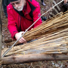 Brian from Howell Recreation Center is rolling another reed bundle in over the base row of bundles, and under the sway (gray stick).